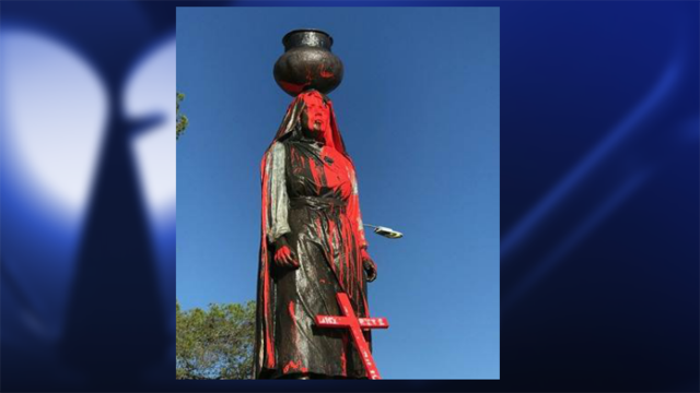 Statue at Ysleta Del Sur Pueblo vandalized