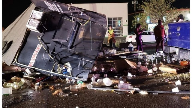 Alleged drunk driver hits, destroys Texas food truck